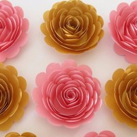"""Baby shower decorations, 6 Pink and Gold roses, 3"""" paper flowers, Wedding reception decor, bridal party gift idea, girl nursery bedroom"""