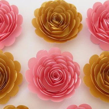 "Baby shower decorations, 6 Pink and Gold roses, 3"" paper flowers, Wedding reception decor, bridal party gift idea, girl nursery bedroom"