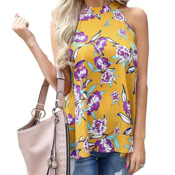 Femme T-shirts Summer Women Top Floral Printed Female Beach Tee Boho Sleeveless Hollow Out Loose Casual Tshirt Plus Size GV042