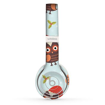 The Orange Cartoon Winter Owls Skin Set for the Beats by Dre Solo 2 Wireless Headphones