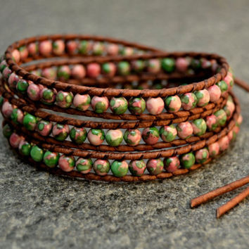 Rustic pink and green bracelet. Chan Luu inspired beaded leather wrap bracelet.