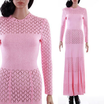 70s Pink Knit Maxi Dress Boho Chic Long Sleeved Pastel Crochet Fitted Gown Womens Size Small XS