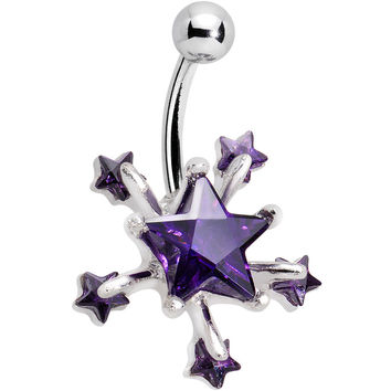 Purple Shooting Stars Belly Ring