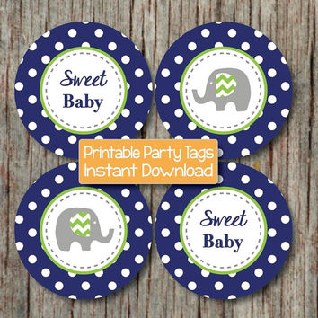 Baby Shower Favor Tags Printable Cupcake Toppers diy Party Supplies Navy Blue Lime Green Boy Elephant Sweet Baby Shower INSTANT DOWNLOAD 086