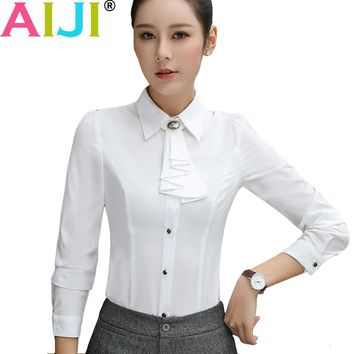 AIJI 2017 spring autumn women long sleeve blouse chiffon ruffles office hotels elegant formal plus size shirts work wear tops