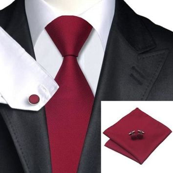 Woven Silk Necktie HandMade Mens Tie Cufflinks and Handkerchief Set Hanky