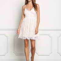 White Floral Lace Cami Flared Dress