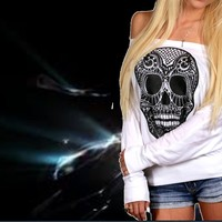 Sugar skull cold shoulder sweat Top