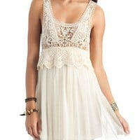 crochet mesh tank dress $38.00 in CREAM RUST - Casual | GoJane.com