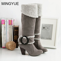 Women Faux Suede High Heels Knee High Boots Chunky Heel 9149