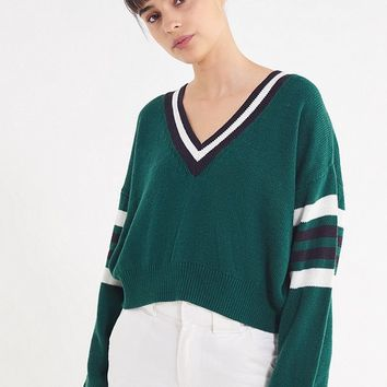UO Kristen V-Neck Varsity Sweater | Urban Outfitters