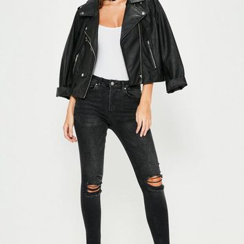 Missguided - Black Anarchy Mid Rise Busted Knee Skinny Jeans