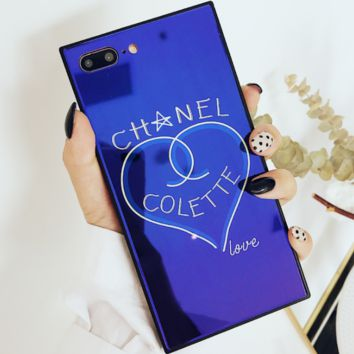 Chanel love glass mirror shell iphoneX mobile phone shell tide brand iphone7/8PLUS protective cover hard shell blue