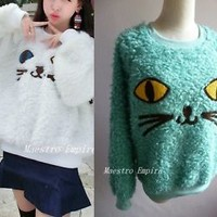 Cat Face Feline Soft Cute Pullover Oversize Slouchy Sweater Top