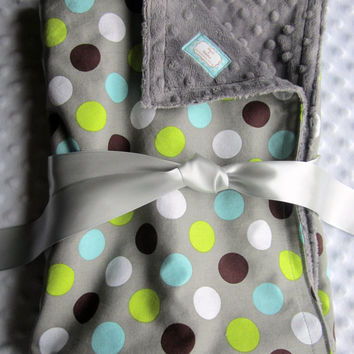 "Baby Boy Large 30"" x 36"" Blanket in Handsome Dot Gray, Lime Green, Aqua, Teal, White Dots Cotton with Minky Dot Chenille"