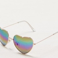 AEO Women's Mirrored Heart Sunglasses (Gold)