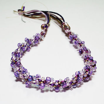 Purple and White Beaded Kumihimo Bracelet by epicstitching on Etsy