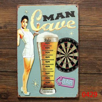 Cave man ! Bar And Beer. vintage metal tin signs pub home wall decoration retro sign art poster