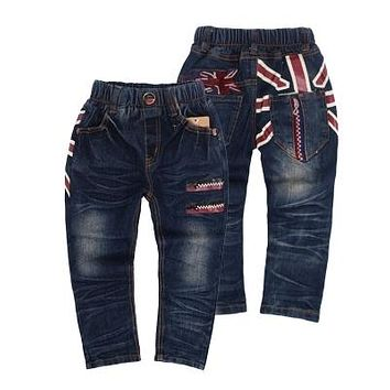 Spring/Autumn Britain Flag Casual Boys Jeans Denim Kids Pants Trousers Toddlers Clothes New 2018 T2/0999DAE