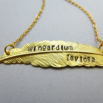 Gryffindor Necklace Wingardium Leviosa Feather Necklace Harry Potter Jewelry Slytherin Ravenclaw Hufflepuff Hogwarts Wizard Witch Accessory