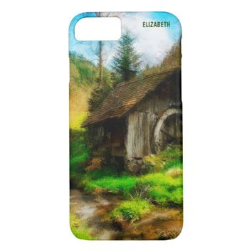 Retro Old Mill In Mountain Valley On Small River iPhone 7 Case