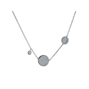 "Italian Engravable Discs Sterling Silver Charm Necklace, 15"" + 2"" extension"