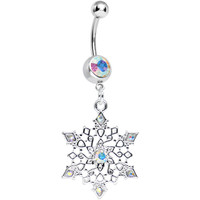 Aurora Gem Delicate Winter Snowflake Dangle Belly Ring | Body Candy Body Jewelry