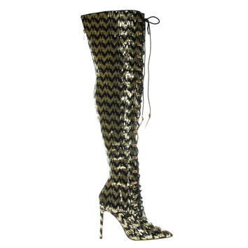 Ecstasy Gold Black By Liliana, Heel Military Combat Corset Boots w Lace Up Mesh Glitter Over Knee
