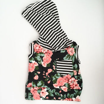 Baby or toddler girl floral hooded tank | summer | tank top | gift