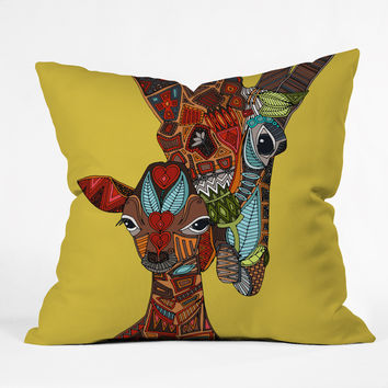Sharon Turner Giraffe Love Ochre Throw Pillow