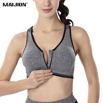 MAIJION Women Fitness Yoga Sports Bra For Running Gym Padded Wirefree Shakeproof Underwear Push Up Seamless Front Zipper Top Bra