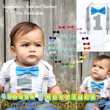 Baby Boy First Birthday Outfit - Grey and Blue - Boys First - Birthday Clothes - Birthday Shirt - Suspenders Bow - Elephant Theme Party Outfit