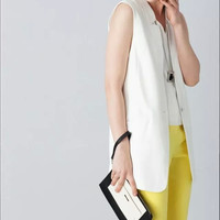 Plain Notched Sleeveless Button Blazer