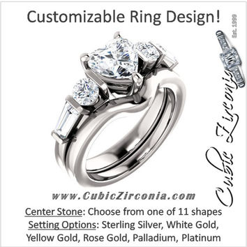 CZ Wedding Set, Style 05-40 feat The Sarah Engagement Ring (Customizable 5-Stone Baguette Channel)