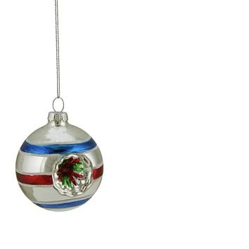 """Silver Red and Blue Glittered Witches Eye Glass Ball Ornament 2.75"""" (70mm)"""