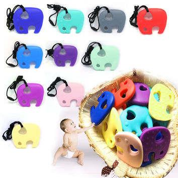 Silicone Elephant Teething Pacifier Pendant Toy Soother Teether for Baby Kids Chew Toy Baby Teething Pendant BPA FREE