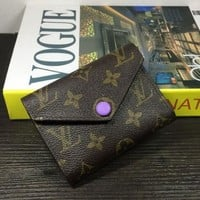 LV Louis Vuitton Fashion Personality Women Leather Print Purple Buckle Handbag Wallet Purse I