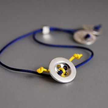 The Summer Button Bracelet Modern Everyday Adjustable Wearable Art Blue Yellow Fresh Summer Colors Sterling Silver Button Disks Nylon Cord