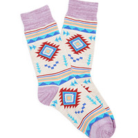 Southwestern-Patterned Crew Socks