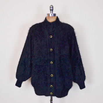 Vintage 80s Black Angora Cardigan Soft Fuzzy Angora Sweater Angora Rabbit Hair Oversize Cardigan Batwing Sweater Batwing Sleeve Sweater M L