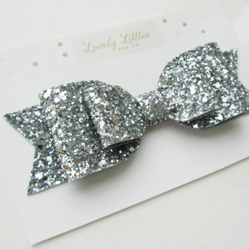 Girl and adult Oversized silver glitter fabric bow hair clip - so Sparkly!!!