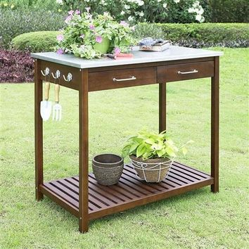 Outdoor Solid Wood Potting Bench with Galvanized Metal Top