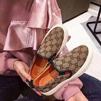 GUCCI Hot Women's Double G Embroidered Casual Loafers