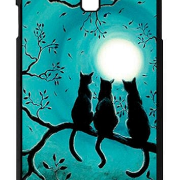 Three Black Cat In The Night Moon Samsung Galaxy S4 Cases - Hard Plastic, Rubber Case