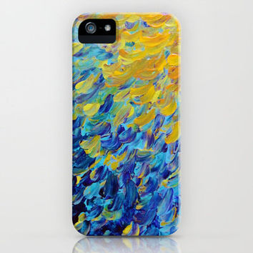 AQUATIC MELODY - Lovely Bright Abstract Ocean Waves Acrylic Painting Colorful Rainbow Beach Gift Art iPhone Case by EbiEmporium | Society6