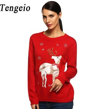 Tengeio Women Christmas Sweater With Deer Pullover Autumn Winter Casual Red Black Long Sleeve Applique Jumper Pull Femme Hiver