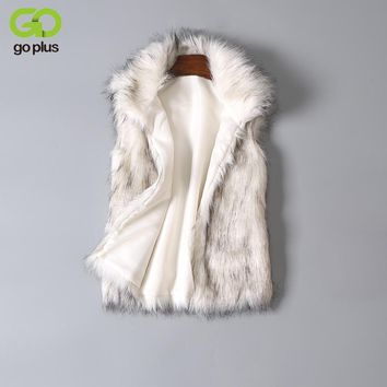GOPLUS New 2017 Long Fur Vest Winter Women Luxury Faux Fox Fur Vest Furry Slim Women's Fake Fur Vest Plus Size Faux Fur Vest