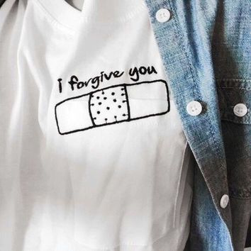 I Forgive You Corner White T shirt Harajuku Style Women Shirts F1138