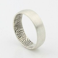 Custom Inner Fingerprint Ring - Sterling Silver Engraving Wedding Band-satin, black Rhodium highlight,6mm