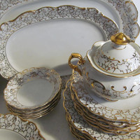 Large Dresden China Dinnerware set  Dresden Platters Fine Dining Fine China White and Gold Dinnerware Holiday Table Decor Dresden TeaPot